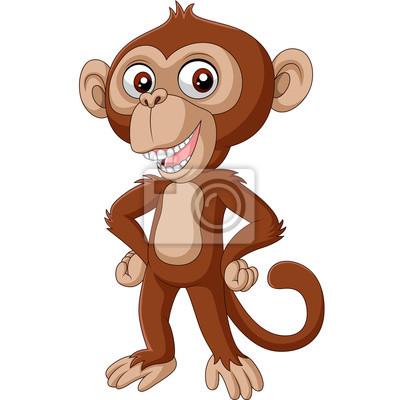 Cute baby chimpanzee cartoon posing
