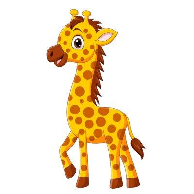 Cute baby giraffe cartoon isolated on white background