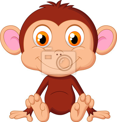 Cute baby monkey cartoon