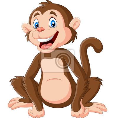 Cute baby monkey sitting on white background