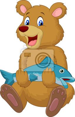 Cute bear holding salmon fish