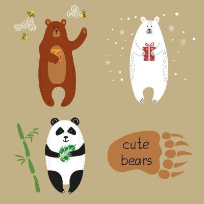 Wall mural Cute bears set. Collection of cartoon vector illustrations of brown bear, polar bear and panda.