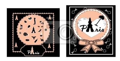 Cute cards paris vector