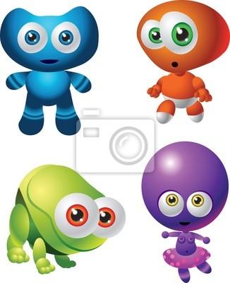 cute cartoon baby aliens in blue, red, green, purple colours