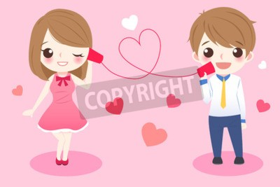 Wall mural cute cartoon couple take can phone smile happily