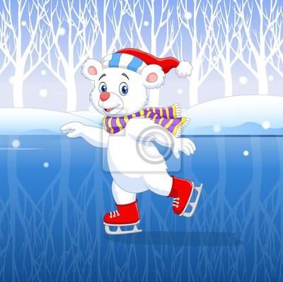 Cute cartoon polar bear ice skating with winter background