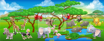 Cute Cartoon Safari Animal Scene Landscape
