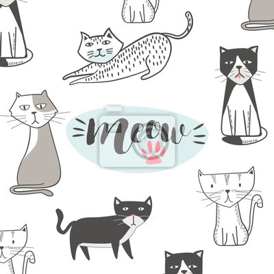 Wall mural Cute cat with hand drawn cartoon. Hip Hop style