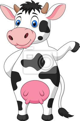 Cute cow cartoon waving hand