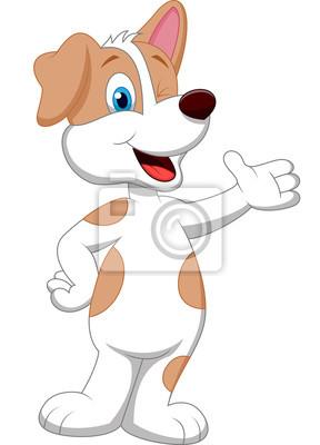 Cute dog cartoon waving hand