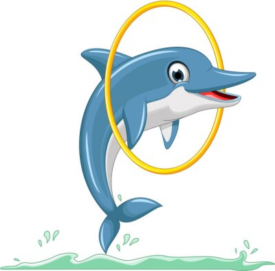 Wall mural cute dolphin cartoon jumping