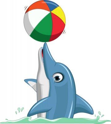 Wall mural cute dolphin cartoon playing ball