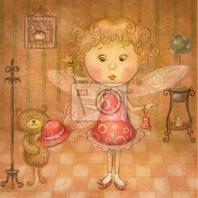 Cute fairy with bear.Children illustration.Blond Tooth Fairy.