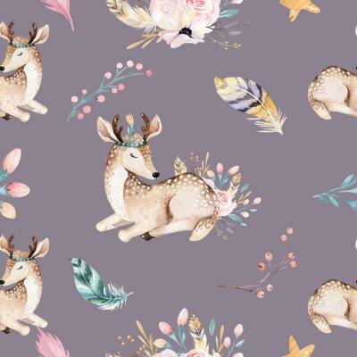 Wall mural Cute family baby raccon, deer and bunny. animal nursery giraffe, and bear isolated illustration. Watercolor boho raccon drawing nursery seamless pattern. Kids background, nursery print