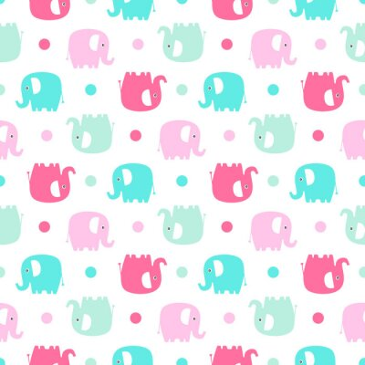 Wall mural Cute flat elephant. Vector seamless pattern with fun color elephants silhouette and dots. Sweet background for babies and children. Pastel colors - pink and green on white background.