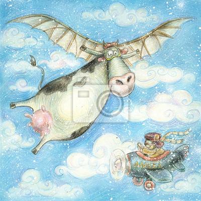 Cute flying cow.Vintage background.Children illustration