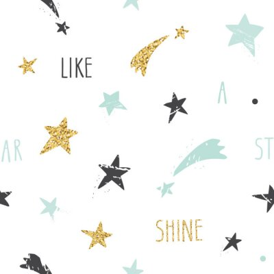 Wall mural Cute funny seamless pattern background with hand drawn stars and inspirational handwritten quote Shine Like A Star. Glitter, pastel blue and black sparkles isolated on white.