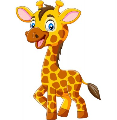 Cute giraffe cartoon isolated on white background