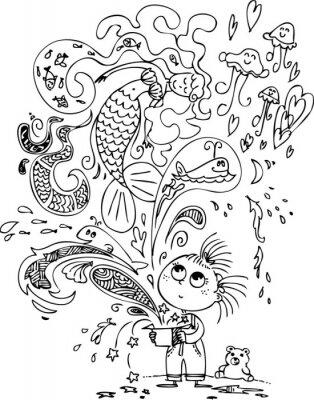 Wall mural Cute little girl opening a magic box with a mermaid