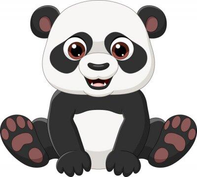 Cute little panda sitting isolated on white background