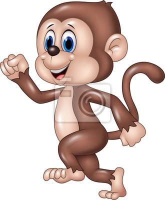Cute monkey running isolated on white background