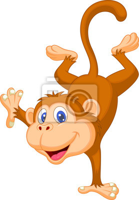 Cute monkey standing in its hand