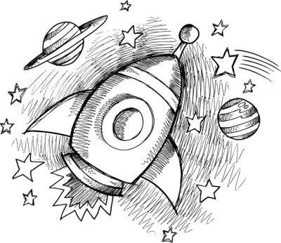 Wall mural Cute Outer Space Rocket Sketch Vector