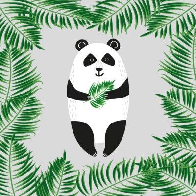 Wall mural Cute panda bear. Vector illustration.