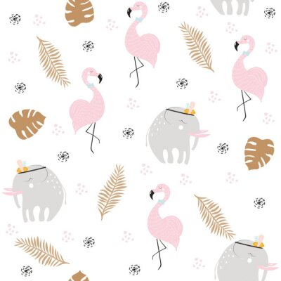 Wall mural Cute pastel seamless pattern with African animals and gold tropical leaves. Vector hand drawn illustration.