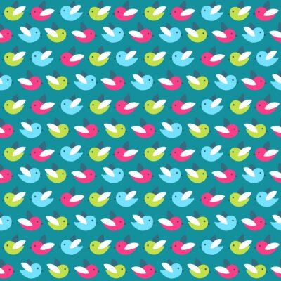 Wall mural Cute pattern with color birds