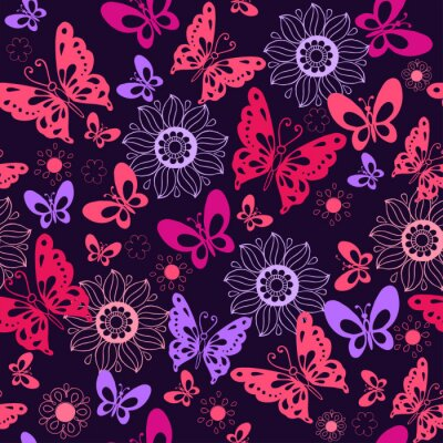 Wall mural Cute pink butterflies on a blue background. Seamless pattern of flowers and butterflies. Vector illustration