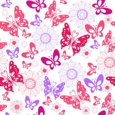 Wall mural Cute pink butterflies on a white background. Seamless pattern of flowers and butterflies. Vector illustration