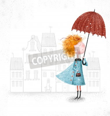 Cute red-head girl with umbrella in blue coat on city background