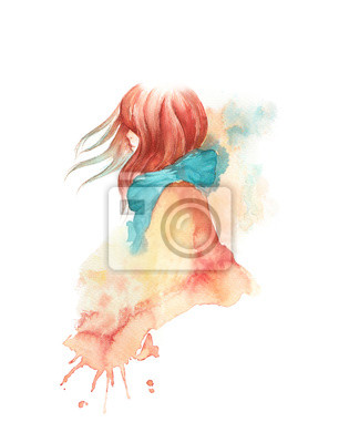Cute red headed girl wearing a blue scarf and a coat