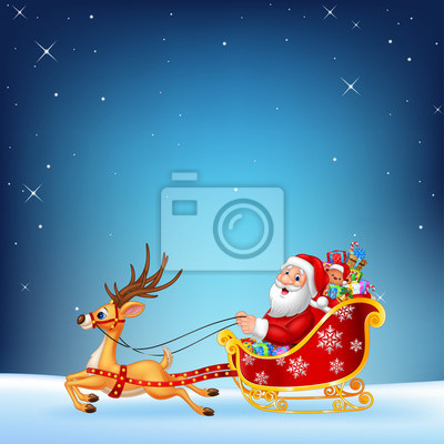 Cute Santa clause in his Christmas sled being pulled by reindeer  on a night sky background