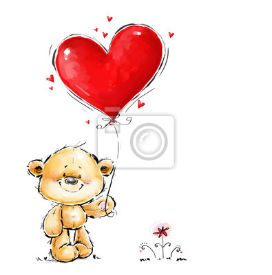 Cute Teddy Bear in love with big red heart balloon. Valentines day postcard design. Romantic confession illustration