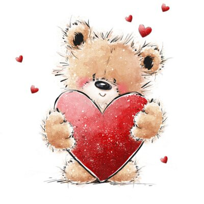 Cute Teddy Bear in love with big red heart. Valentines or Mothers day postcard.