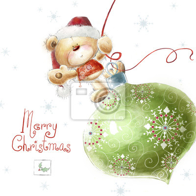 Wall mural Cute teddy bear with  big Christmas tree toy  in Santa hat.