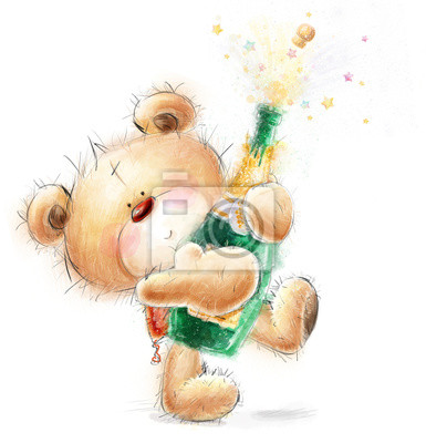 Cute Teddy Bear with the bottle of close -up champagne
