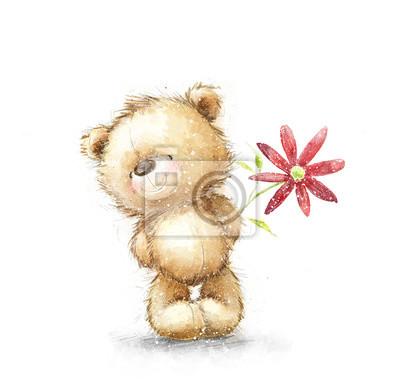 Cute Teddy bear with the red flower. Background with bear and flowers. Hand drawn teddy bear isolated on white background.Valentines greeting card. Love design.I love you. Birthday greeting card.