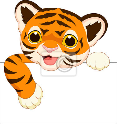 Cute tiger with blank sign