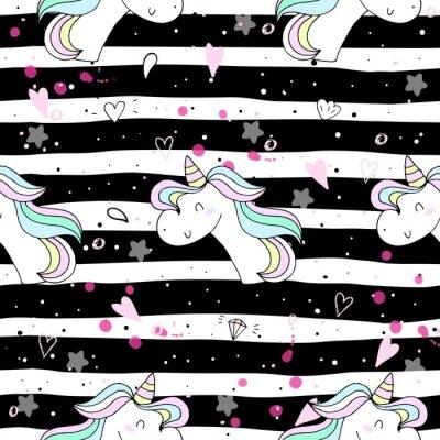Wall mural cute unicorn on a pink backgroun. vector pattern
