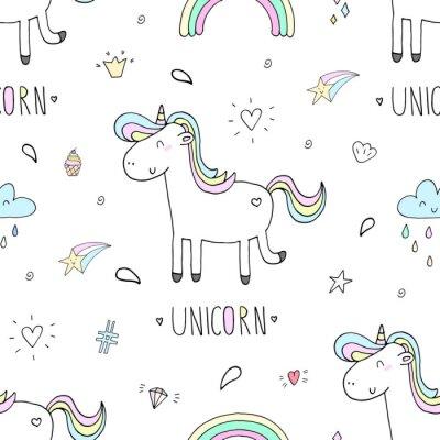 Wall mural cute unicorn vector pattern
