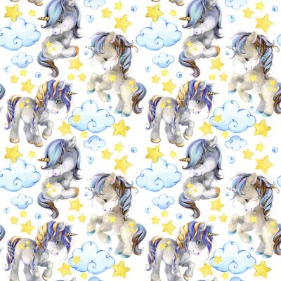 Wall mural cute unicorn watercolor seamless pattern