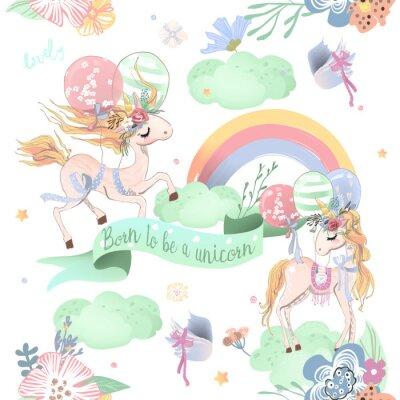 Wall mural Cute unicorns seamless pattern. Kids pattern with unicorns, flowers, balloons, clouds and rainbow