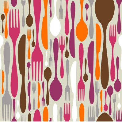 Wall mural Cutlery silhouette icons pattern background