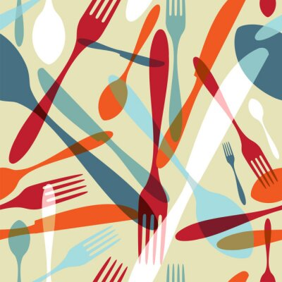 Wall mural Cutlery transparent silhouette pattern background