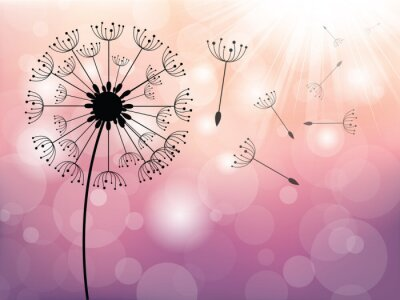 Wall mural Dandelion on wind, vector background