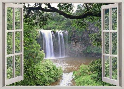 Wall mural Dangar Falls view in open window