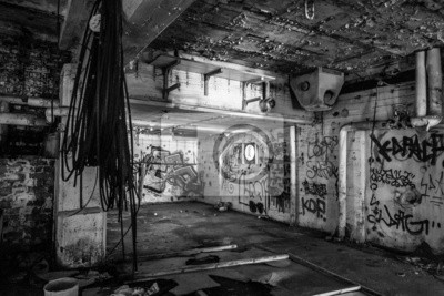 Dark abandoned scary factory room